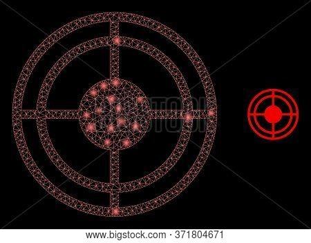 Shiny Web Network Bulls Eye With Lightspots. Illuminated Vector 2d Constellation Created From Bulls