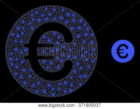 Shiny Web Mesh Rounded Euro With Light Spots. Illuminated Vector 2d Model Created From Rounded Euro