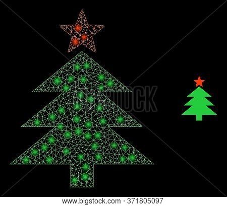 Shiny Web Mesh New Year Tree With Glowing Spots. Illuminated Vector 2d Model Created From New Year T