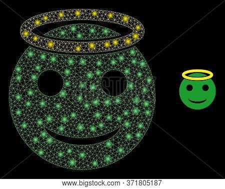 Glowing Web Mesh Holy Smiley With Glowing Spots. Illuminated Vector 2d Model Created From Holy Smile