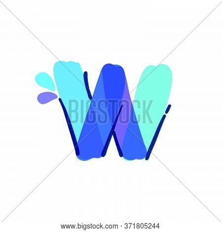 W Letter Logo With Water Drops And Waves. Handwritten With A Felt-tip Pen. Vector Bold Marker Font C
