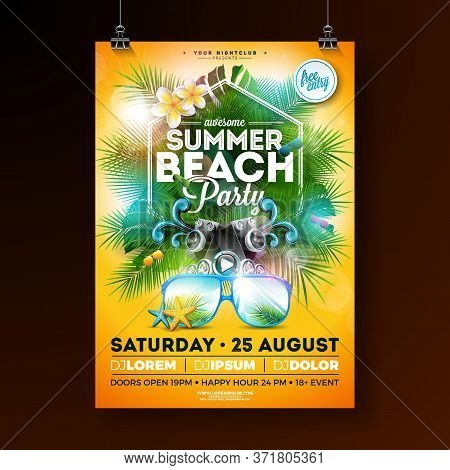 Summer Beach Party Flyer Design With Flower, Lifebelt And Sunglasses On Yellow Background. Vector Su
