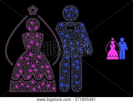 Bright Web Mesh Newlyweds With Lightspots. Illuminated Vector 2d Model Created From Newlyweds Icon.