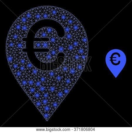 Glowing Web Mesh Euro Map Marker With Glowing Spots. Illuminated Vector 2d Constellation Created Fro