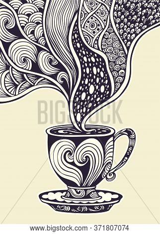 Cup Of Coffee Or Tea In Zen Tangle Zen Doodle Style Black And White For Decoration And Advertising O