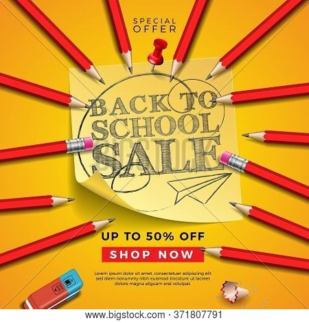 Back To School Sale Design With Graphite Pencil, Eraser And Sticky Notes On Yellow Background. Vecto