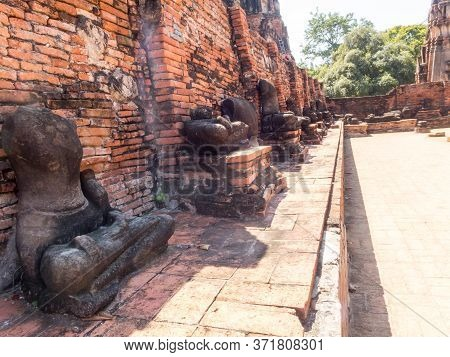 Wat Mahathat Ayutthaya,thailand-18 October 2018;wat Phra That Phra Ram And It Is The Abode Of The Ap