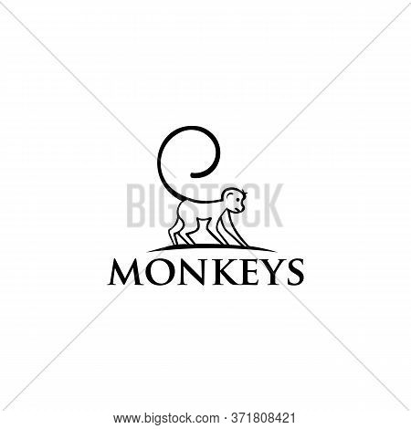 Monkey Icon From Protected Animal, Simple Line Element Monkey Symbol For Templates Logo