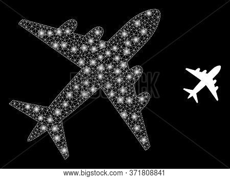 Bright Web Mesh Airplane With Lightspots. Illuminated Vector 2d Constellation Created From Airplane