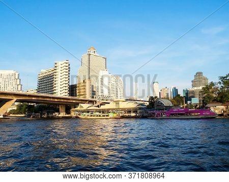 Chao Phraya River Sathorn Bangrak Bangkok Thailand-17 December 2018:landscape Of Bangkok Of Sathorn