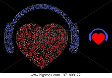 Bright Web Network Romantic Heart Dj With Glowing Spots. Illuminated Vector 2d Model Created From Ro