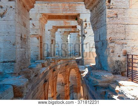 Arles, France - June 19 - 2018: The Interior Of The Colosseum Or Coliseum In Arles, France. Selectiv