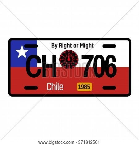 Chile Automobile License Plate On White Background. Country License Plate Series.