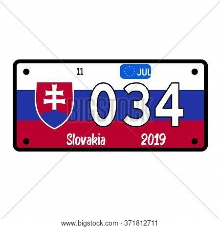 Slovakia Automobile License Plate On White Background. Country License Plate Series.