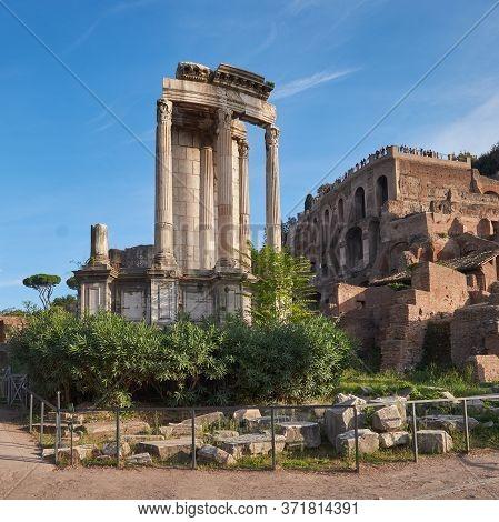 Ruins Of Roman Forum, Or Forum Of Caesar, In Rome, Italy, Panoramic Image.