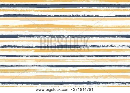 Pain Freehand Parallel Lines Vector Seamless Pattern. Abstract Gift Wrapping Paper Design. Grainy Te
