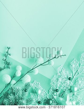 Monochrome Christmas Flat Lay Background Toned Green Mint Or Biscay Green With Copy Space. Decorativ