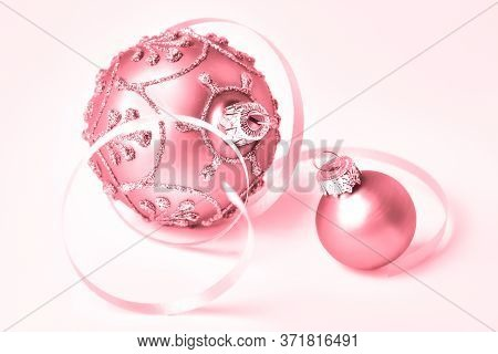 Creative Pink Monochrome Filtered Close-up On Two Trinkets, Glass Christmas Baubles Toned In Shades