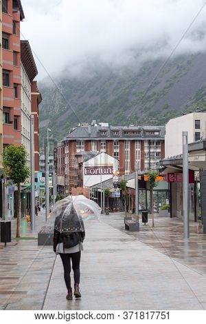 Escaldes - Engordany, Andorra : 16 June 2020: Cloudy And Rainy Day In The Capital Of Andorra. People