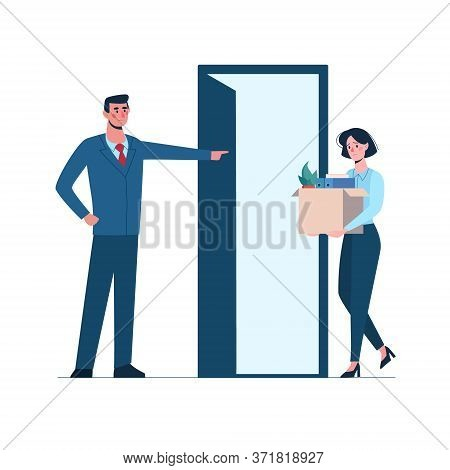 Boss Leaves A Woman Without Work. Fired Person Leaves The Office With A Box In His Hands. Job Loss D