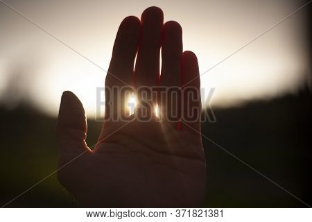 The Sun Through The Palm Of Your Hand. The Rays Of Light At Sunset Penetrate Through Your Fingers. S