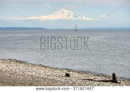 Mt Baker Washington State Usa. The Beach In Point Roberts, Washington State, Looking Out Across Geor