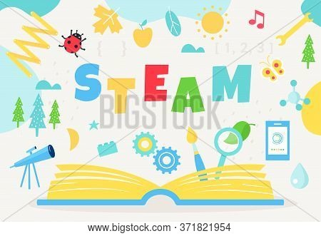 Open Book And Steam Sign. Science, Technology, Engineering, Art And Math Education Approach. Vector