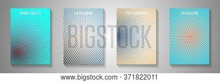 Futuristic Point Screen Tone Gradation Cover Templates Vector Collection. Medical Magazine Faded Scr