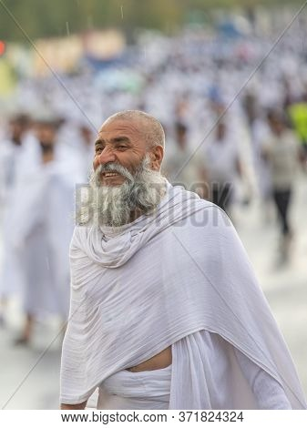 Old Man In Hajj Season Pilgrims In Day Time, Performing Hajj, Mina Mecca , Saudi Arabia, August 2019