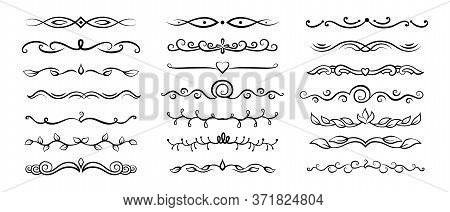 Divider Floral Calligraphic Set. Flourishes Borders, Vegetable Swirl Vignettes Decorative Elements,