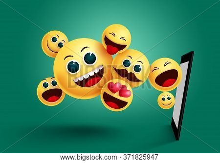 Emoji Mobile Apps Vector Design. Emoticon Emoji Yellow Face From Mobile Phone Apps Element In Green