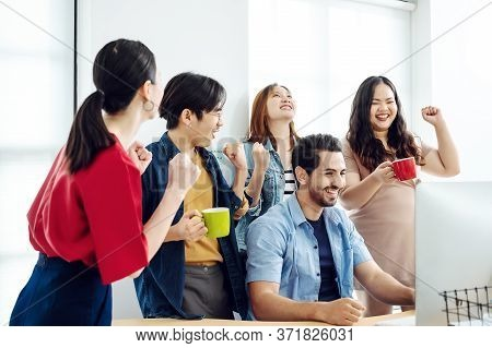 Excited Group Business People Feeling Euphoric Celebrating Online Win Success Achievement Result, Yo