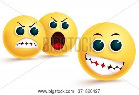 Emoji Envy And Confidence Vector Design. Emoticon In Silly And Teasing Facial Expression With Angry,