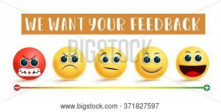 Emoji Customer Feedback Vector Banner Concept. We Want Your Feedback Text With Emoji In Angry, Sad,
