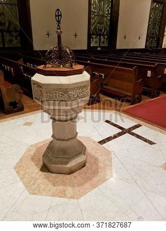 Wilmington, Delaware, U.s.a - December 14, 2019 - Baptismal Font At St Andrew & Matthew Church