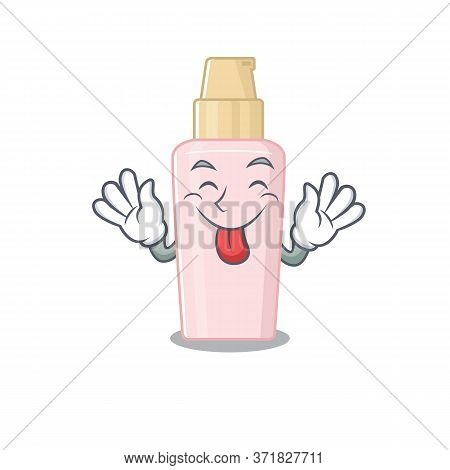 Funny Foundation Cartoon Design With Tongue Out Face