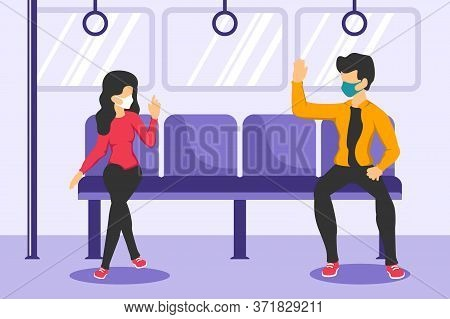 Social Distancing Vector Illustration, Social Distancing, Keep Distance In Public Society People To