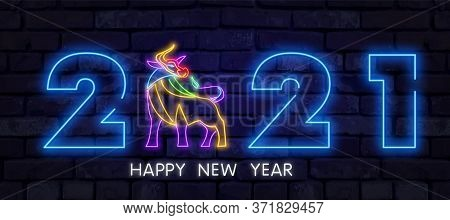 Neon Ox New Year 2021 Greeting Card - Neon Blue Letters 2021 Neon Sign, Bright Signboard, Light Bann
