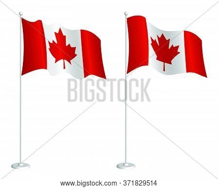 Flag Of Canada On Flagpole Waving In The Wind. Holiday Design Element. Checkpoint For Map Symbols. I