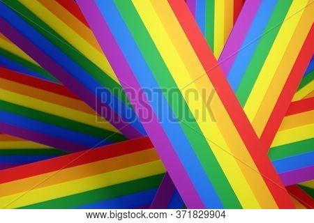 3d Illustration Of The Stripes Lgbt Community Flag. The Concept Of Lgbt Community, Pride. The Rainbo