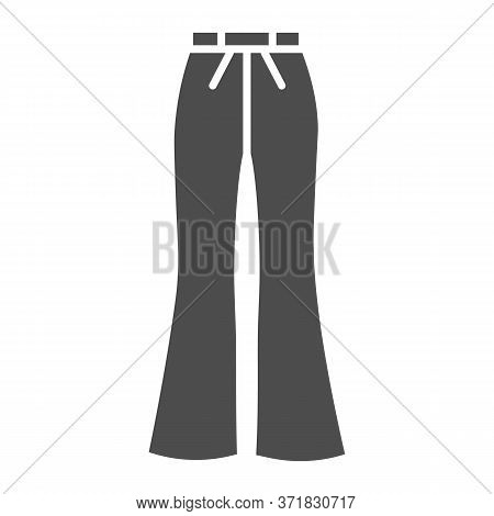 Flared Pants Solid Icon, Clothes Concept, Retro Pants Sign On White Background, Flared Jeans Icon In