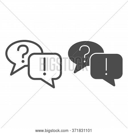 Question And Answer Bubbles Line And Solid Icon, Business Communication Concept, Question Mark And E