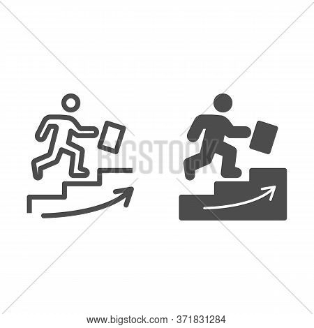 Man Climbs Up The Stairs Line And Solid Icon, Business Strategy Concept, Businessman With Suitcase C