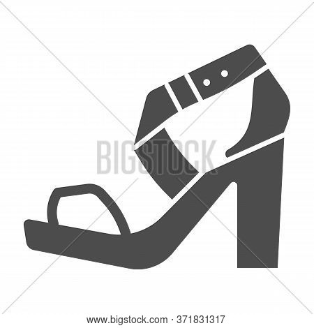 High Heeled Sandal Solid Icon, Casual Shoe Concept, Women Shoes Sign On White Background, Woman High