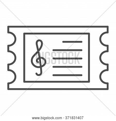 Music Concert Ticket Thin Line Icon, Music Festival Concept, Invitation Card Sign On White Backgroun