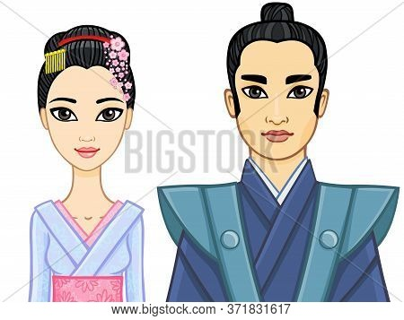 Animation Portrait Of A Japanese Family. Geisha And Samurai. Isolated On A White Background.