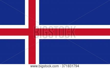 Icelandic Flag, Official Colors And Proportion Correctly. National Icelandic Flag. Vector Illustrati