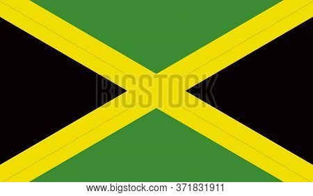 Jamaican Flag, Official Colors And Proportion Correctly. National Jamaican Flag. Vector Illustration
