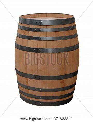 Oak Barrel Isolated On White. Clipping Path Included.