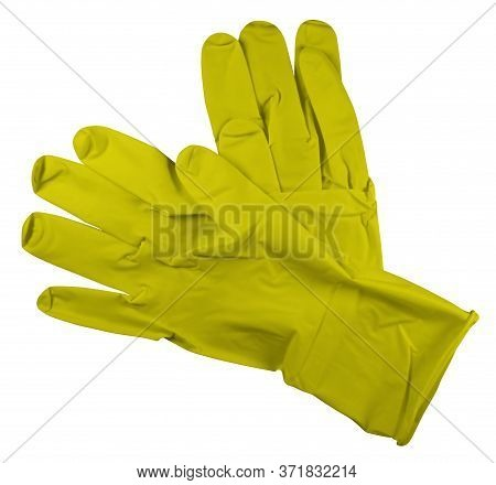 Pair Of Yellow Medical Rubber Gloves, Isolated On White Background. Clipping Path Included.